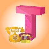 Die t-Telefon Alphabetikone, die für irgendwelche groß ist, verwenden Vektor eps10 vektor abbildung