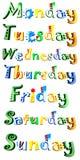 Die Tage der Woche getrennt auf Weiß Stockfotos