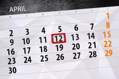 Die Tagesgeschäftkalenderseite 2018 am 12. April Lizenzfreies Stockfoto