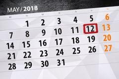 Die Tagesgeschäftkalenderseite 2018 am 12. Mai Stockfotos