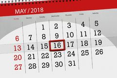 Die Tagesgeschäftkalenderseite 2018 am 16. Mai Lizenzfreie Stockbilder
