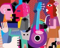 Die Tanzenpaare und -frau, die Gitarre spielen Lizenzfreie Stockfotografie