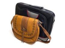 Die Tasche der Frauen und Laptopkasten Lizenzfreies Stockfoto