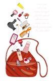 Die Tasche und die Kosmetik der Frauen Lizenzfreies Stockfoto