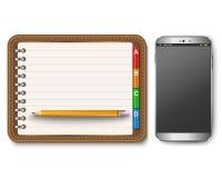 Die Tastatur und der Bleistift des Telefons Lizenzfreie Stockfotos