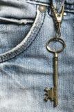 Die Taste auf Blue Jeans Lizenzfreies Stockbild