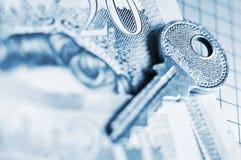 Die Taste zur Finacial Sicherheit Lizenzfreie Stockfotografie