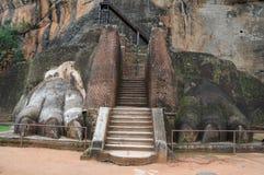 Die Tatzen des Löwes am Fuß des Bergpalastes von Sigiriya Stockfotos