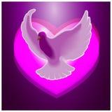 Die Taube auf dem Hintergrund von Herzen Lizenzfreie Stockfotografie