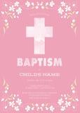 Die Taufe des rosa Mädchens/Taufe/Erstkommunion/Bestätigungs-Einladung mit Aquarell-Kreuz und Blumenmuster - Vektor Stockfotografie