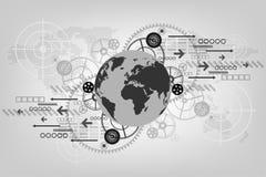 Die Technologie hinter dieser Welt Stockbild