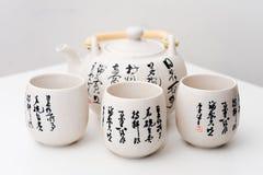 Die Teekanne und die Schalen mit den chinesischen alten Mustern Lizenzfreies Stockbild