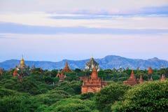 Die Tempel von bagan am Sonnenaufgang, Bagan, Myanmar Stockfotos