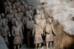 Die Terrakotta-Krieger und die Pferde Stockfotografie