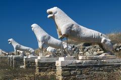 Die Terrasse der Löwen auf Delos-Insel Lizenzfreies Stockfoto