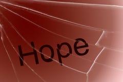 Die Text Hoffnung auf dem defekten Glas Konzept der Verzweiflung und der Hoffnungslosigkeit lizenzfreies stockbild