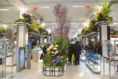 Die Thema-Blumendekoration des geheimen Gartens während der berühmten Show einjähriger Blume Macy s stockbild