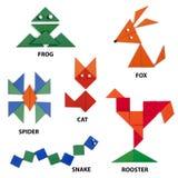 Die Tiere eingestellt von den geometrischen Zahlen Lizenzfreies Stockbild