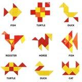 Die Tiere eingestellt von den geometrischen Zahlen Stockbilder