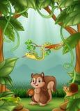 Die Tiere glücklich eine Tätigkeit im Dschungel lizenzfreie abbildung