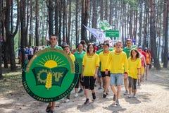 Die touristische Sammlung von jungen Leuten in der Gomel-Region des Republik Belarus Stockbild