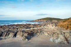 Die Towan-Landspitze bei Newquay Stockfotos