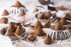 Die Trüffeln der süßen Schokolade lizenzfreie stockbilder