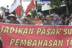 Die traditionelle Demonstration Markt-Händler Soekarno Sukoharjo Stockbild