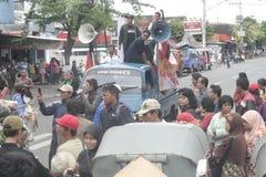 Die traditionelle Demonstration Markt-Händler Soekarno Sukoharjo Lizenzfreie Stockfotografie