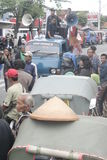 Die traditionelle Demonstration Markt-Händler Soekarno Sukoharjo stockfoto