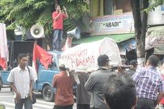 Die traditionelle Demonstration Markt-Händler Soekarno Sukoharjo lizenzfreie stockbilder