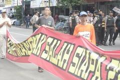 Die traditionelle Demonstration Markt-Händler Soekarno Sukoharjo lizenzfreie stockfotos