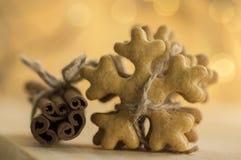 Die traditionellen geschmackvollen tschechischen Lebkuchen, frischer Zimt, die mit Jutefaserseil, Weihnachtsschneeflocken und Gew Stockbilder