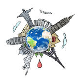 Die Traumreise in einem whiteboard auf der ganzen Welt zeichnen Lizenzfreies Stockfoto