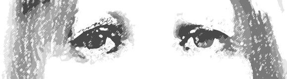 Die traurige Damen-Augen-Skizze lokalisiert auf Weiß Lizenzfreies Stockbild