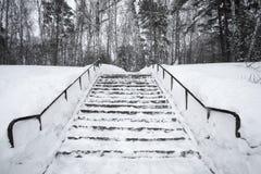 Die Treppe wird im Schnee bedeckt Stockfotos