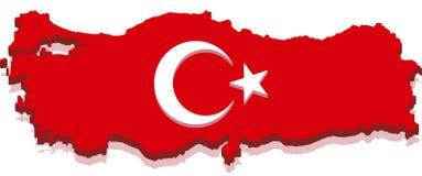 Die Türkei-Karte mit türkischer Markierungsfahne 3D Lizenzfreies Stockfoto