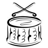 Die Trommel und die gekreuzten Trommelstöcke lizenzfreie abbildung