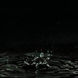 Die tropfende Flüssigkeit, gebildet einem dunklen Krater, spritzt und Wassertropfen Stockbilder