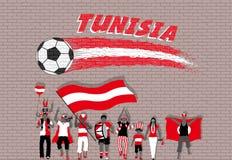 Die tunesischen Fußballfane, die mit Tunesien zujubeln, kennzeichnen Farben im fron vektor abbildung