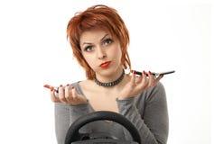 Die typische Frau am Rad Lizenzfreies Stockfoto