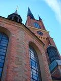 Die Uhr auf dem Turm der Riddarholm-Kirche in Stockholm, Schalter Stockfotografie