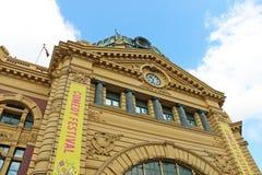 Die Uhr des flinders-Straßenbahn-Bahnhofs ist eine von Melbournes anerkanntesten Ikonen Lizenzfreie Stockbilder