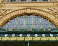 Die Uhren der Flindersstation lizenzfreies stockbild