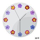 Die Uhrskala mit Blumen Seashells gestalten auf Sandhintergrund Blüht Primel a lizenzfreie abbildung