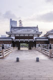 Die, um sich zu schützen an Hiroshima-Schloss mit Wand hinzureißen Brücke, Lizenzfreie Stockbilder