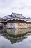 Die, um sich zu schützen an Hiroshima-Schloss mit Wand hinzureißen Brücke, Lizenzfreies Stockbild