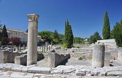 Die umfangreichen römischen Ruinen an der Vaison-La-Sommerendivie, Provence, Frankreich Lizenzfreie Stockbilder