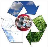 Die Umgebung halten, säubern Sie mit der Wiederverwertung von Alumi Lizenzfreies Stockfoto