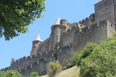 Die ummauerte Stadt von Carcassonne lizenzfreies stockfoto